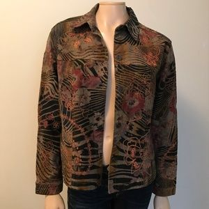 Chico's Floral Print Jean Jacket Tan Embroidered